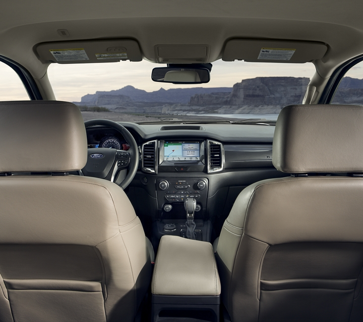 Interior of 2020 Ford Ranger LARIAT in Medium Stone