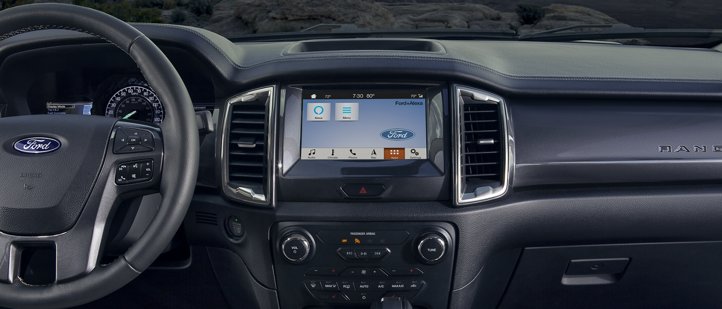 2020 Ford Ranger interior in Ebony with eight inch center dash screen display