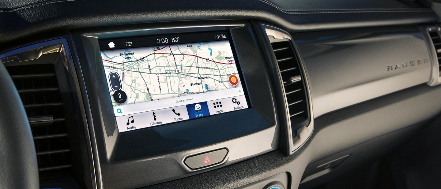 Close view of Waze Map shown in eight inch center dash screen