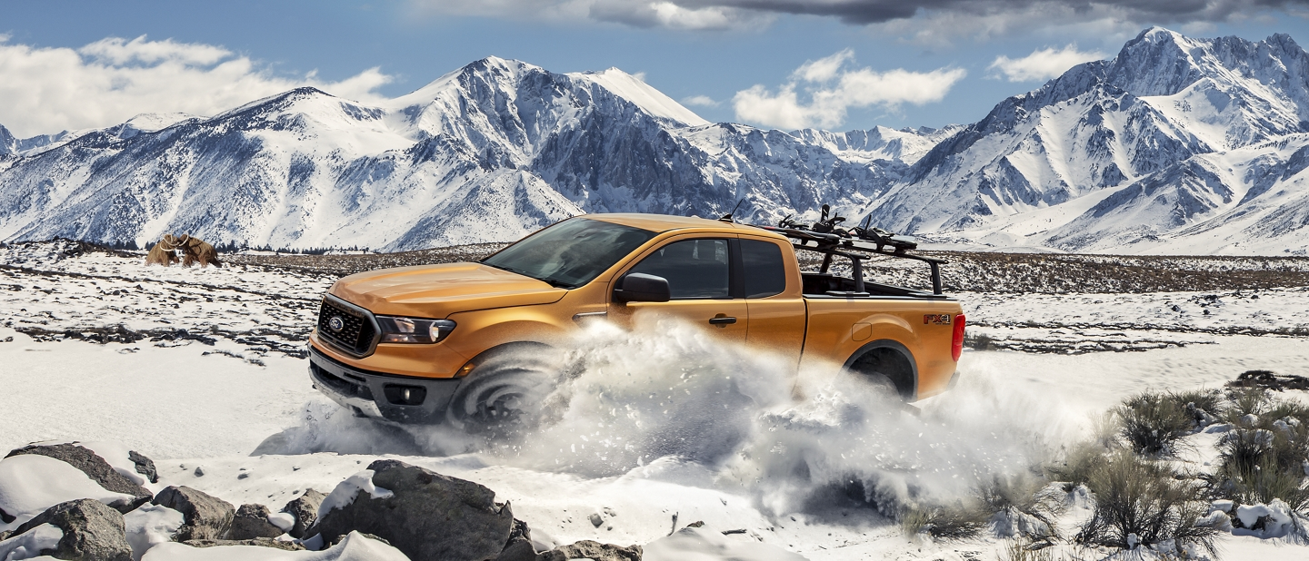2020 Ford Ranger in snow covered mountains