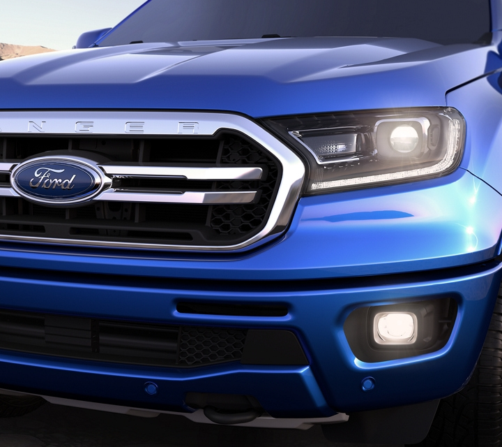 2020 Ford Ranger shown in Lightning Blue with signature lighting on