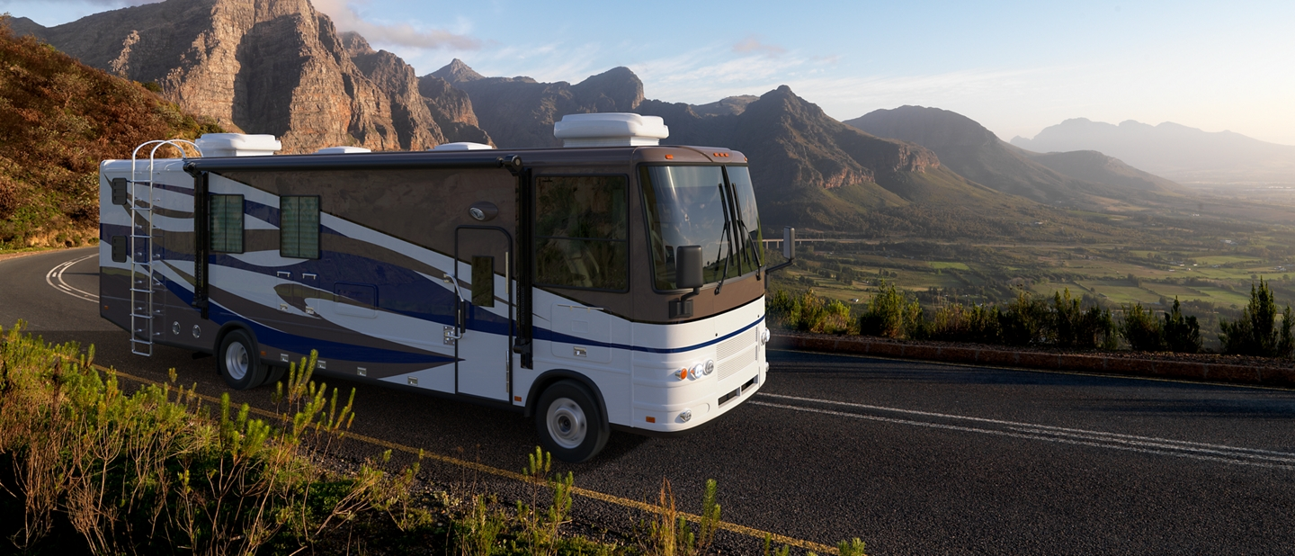 2020 F 53 Motorhome Stripped Chassis being driven in the mountains