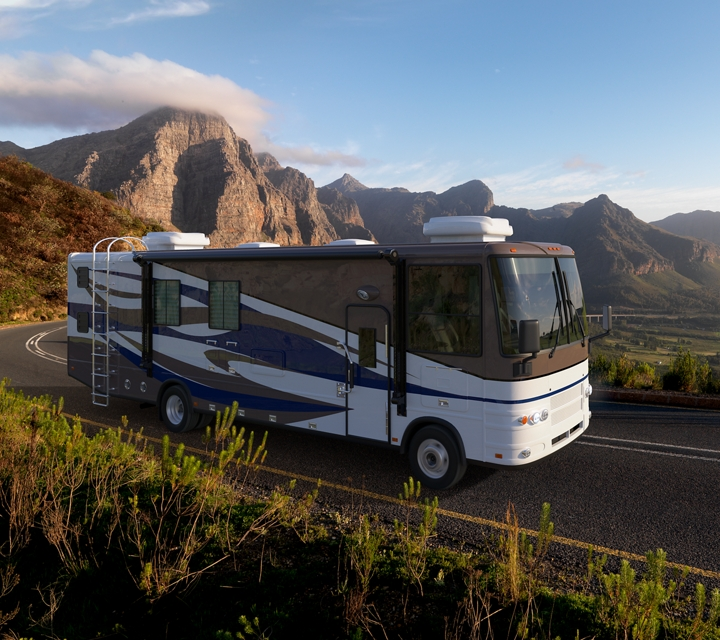 A Motorhome being driven through the mountains