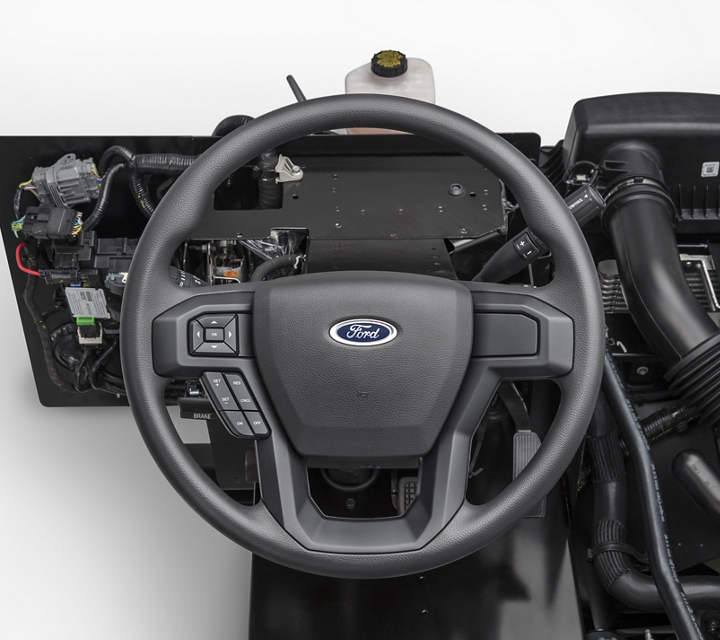 Close up of the tilt and telescoping steering column