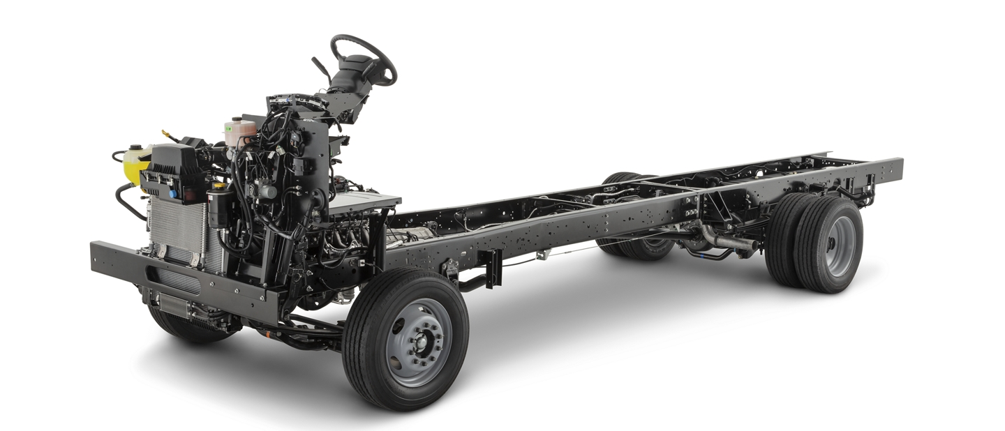 A 2020 Ford F 53 Motorhome Stripped Chassis on a white background