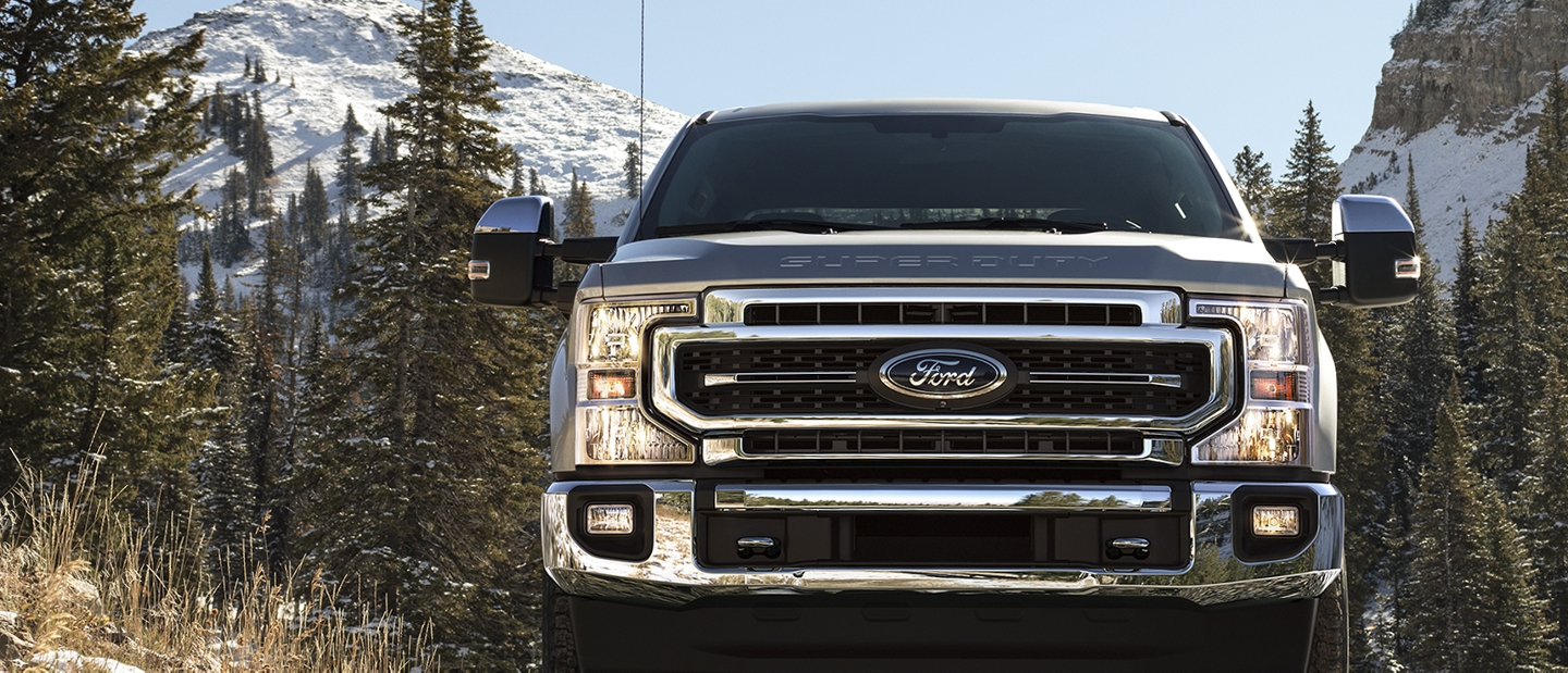 2020 Super Duty on a snowy road in the mountains