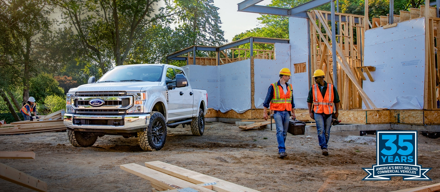 2020 Ford Super Duty on worksite Americas best selling line of commercial vehicles for 35 years