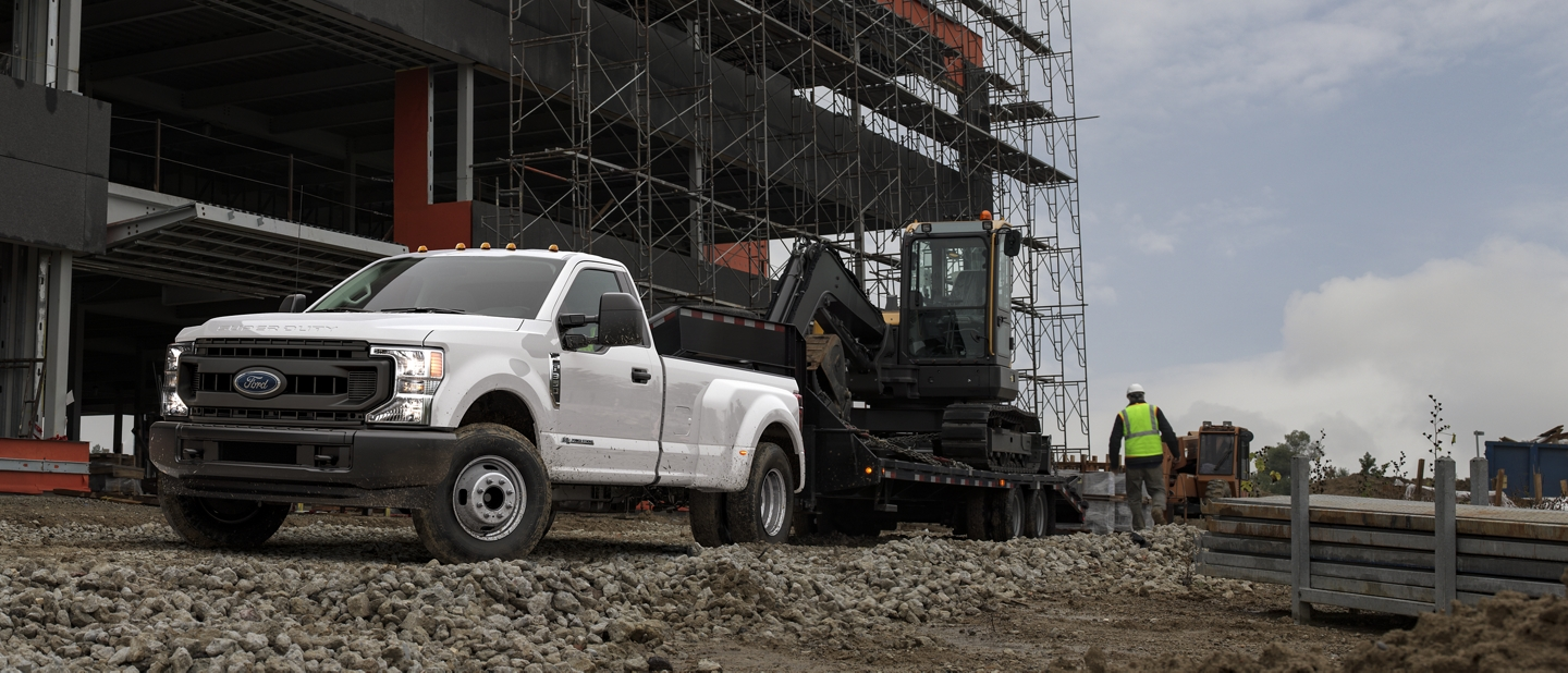 2020 Ford Super Duty towing construction equipment