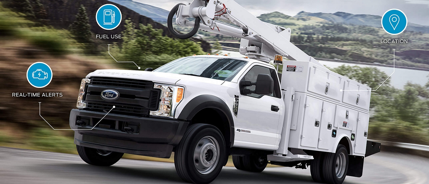 2020 Ford Super Duty on the road with service icons