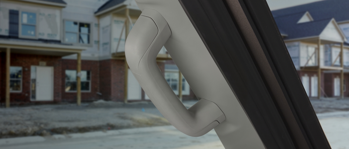 A close up of a 2020 Ford Transit grab handle
