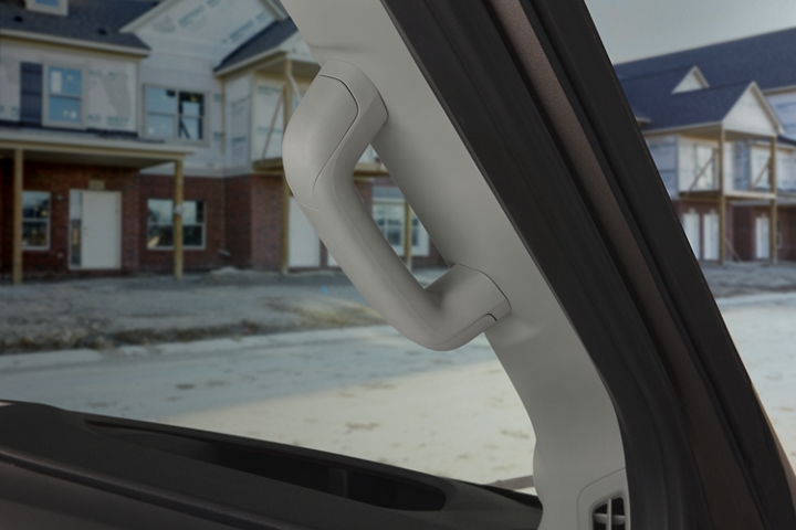 Close up of the drivers side A Pillar grab handle
