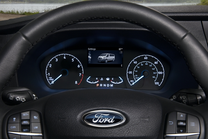 Close up of the 2020 Ford Transit instrument cluster