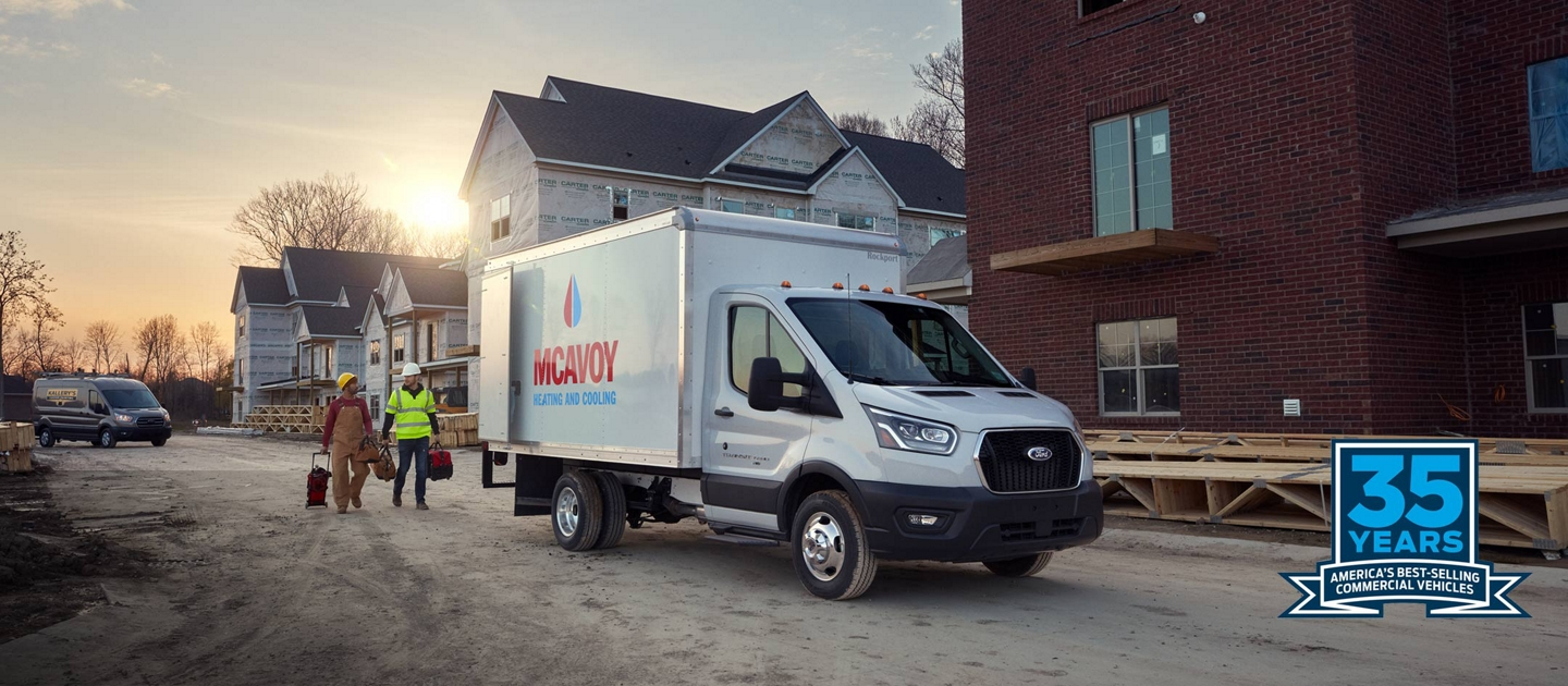 2020 Ford Transit Cutaway and Chassis Cab shown on construction site Americas best selling line of commercial vehicles for 35 years