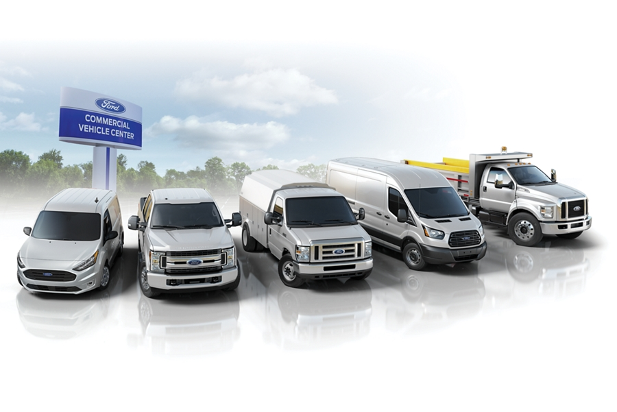 Lineup of Ford commercial vehicles