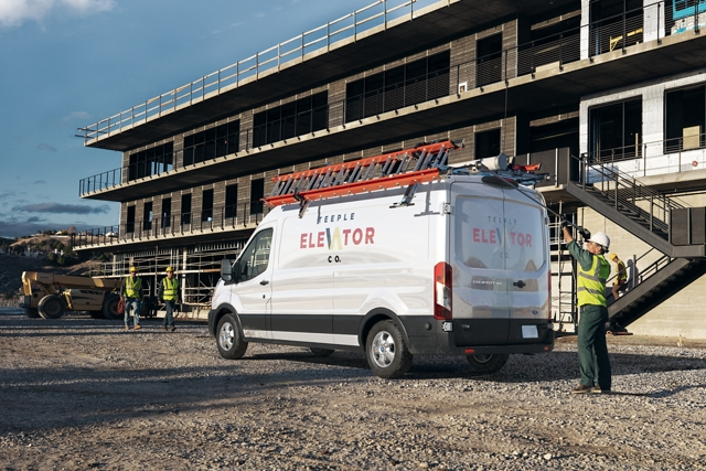 A 2020 Ford Transit at a construction site