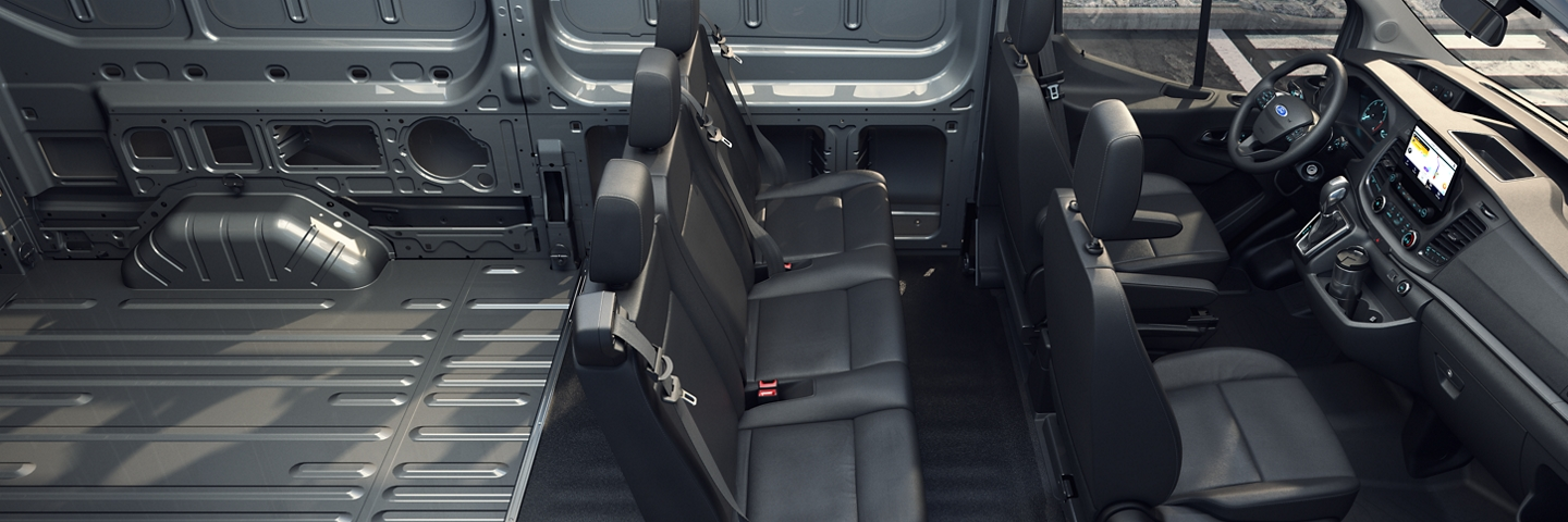 2020 Ford Transit interior with seating for five