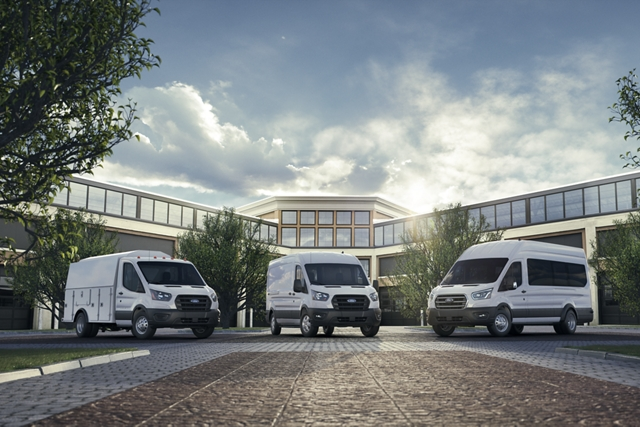 A 2020 Ford Transit Cutaway 2020 Ford Transit Commercial Van and 2020 Ford Transit Retail Wagon with a building in the background