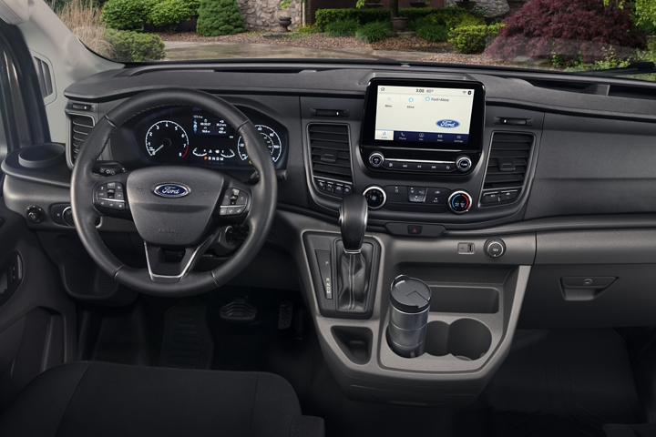 2020 Ford Transit interior with the large center console