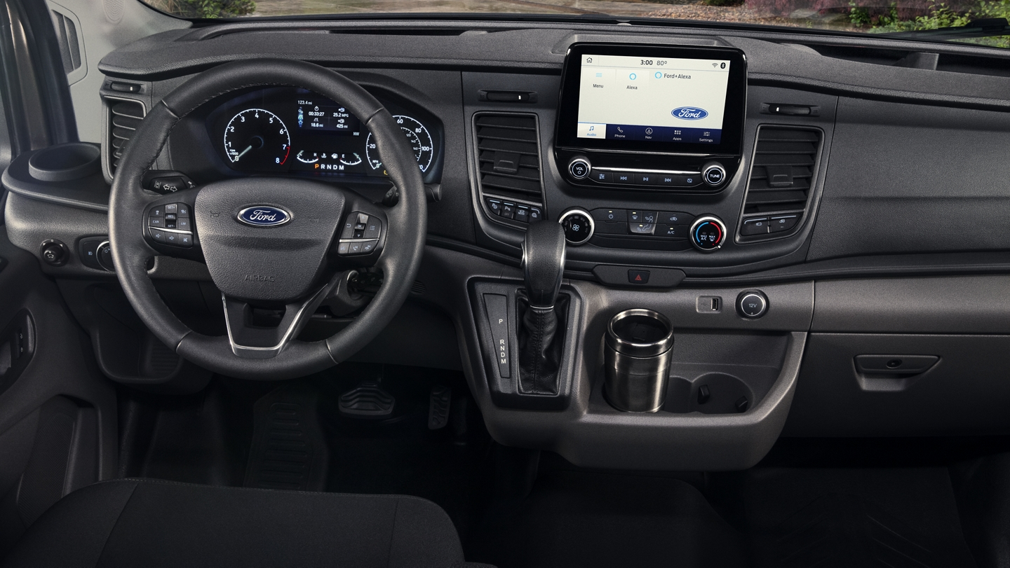 Interior of the 2020 Ford Transit with medium console