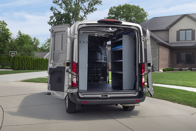 Rear view of a 2020 Ford Transit with an open cargo doors