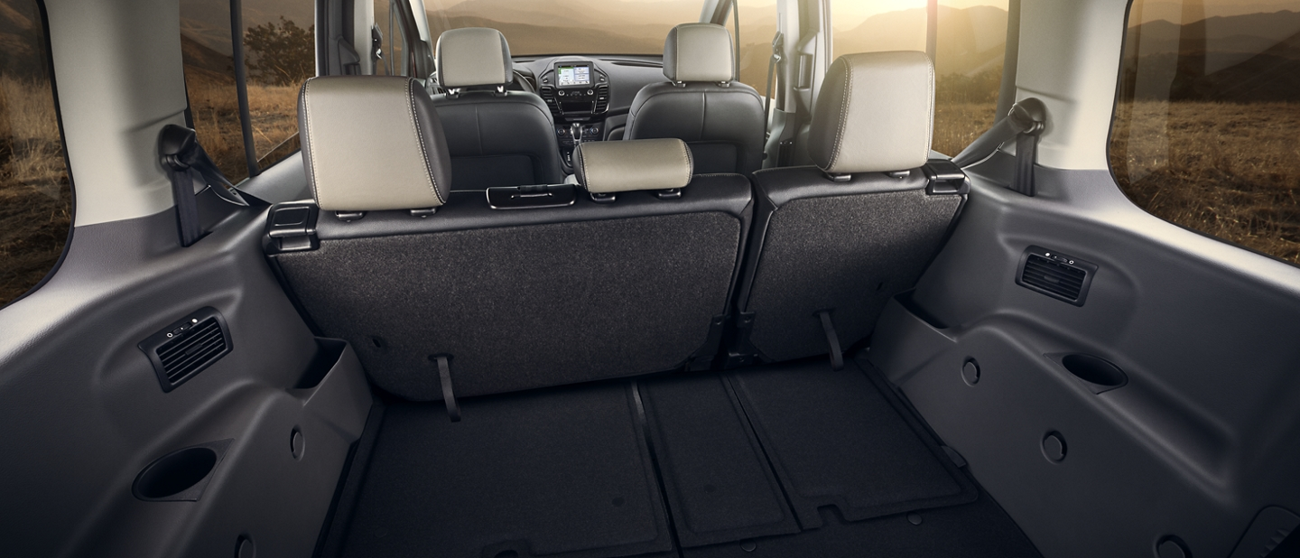 Interior of 2020 Ford Transit Connect Passenger Wagon showing room for all of your cargo or equipment