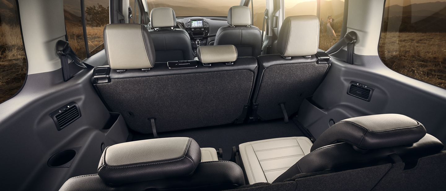 Interior of available seating and cargo space for 2020 Ford Transit Connect Passenger wagon