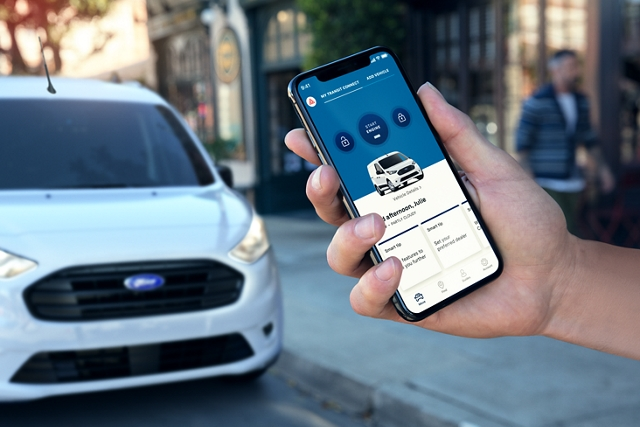 App showing available Ford Pass Connect with Wi Fi hotspot
