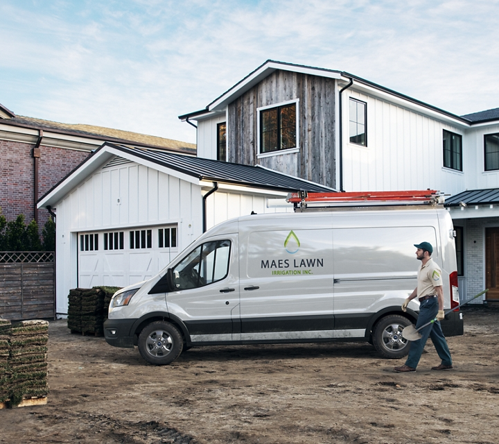 Transit cargo van on the job at a home construction site
