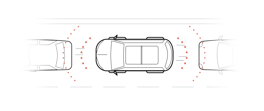 A graphic shows a car driving in traffic and sensors calculating the distance between the car in front of it and the car behind it