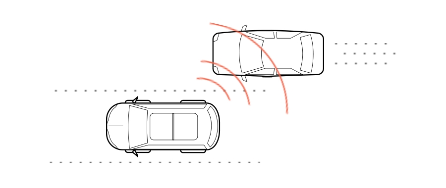 A graphic shows a car driving in traffic with a sensor that picks up another car in the blind spot
