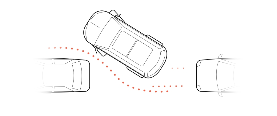 A graphic shows a car maneuvering into a parallel parking spot between two cars