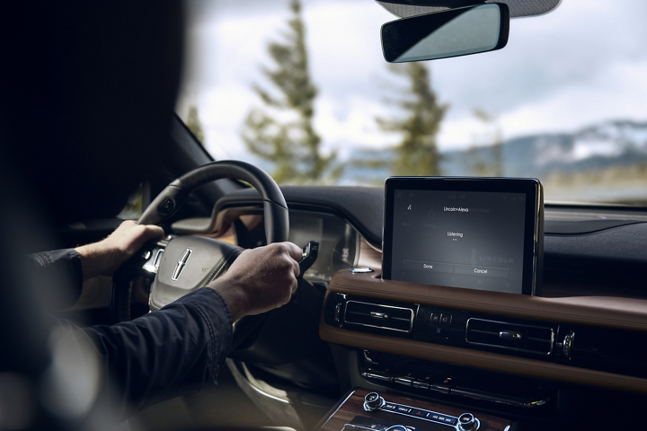 The Lincoln plus alexa app is shown in the center screen of a Lincoln Aviators dashboard