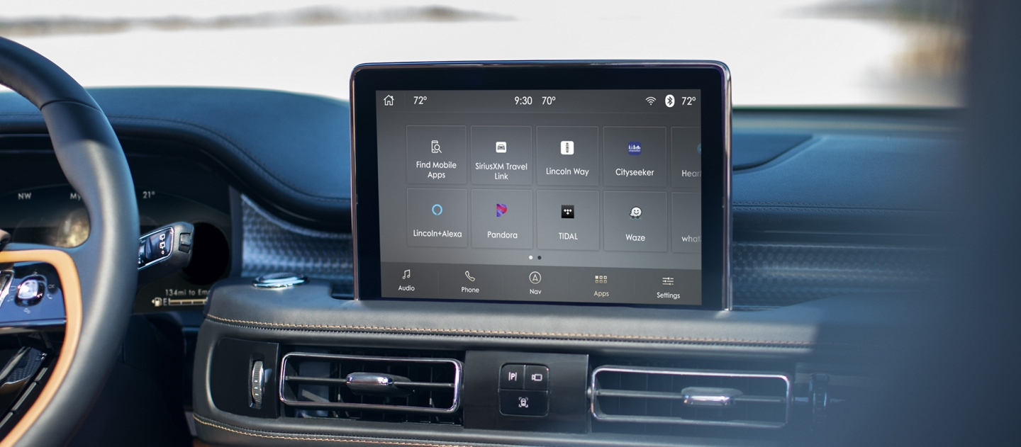 The center screen inside a Lincoln Aviator displays the sink three interface