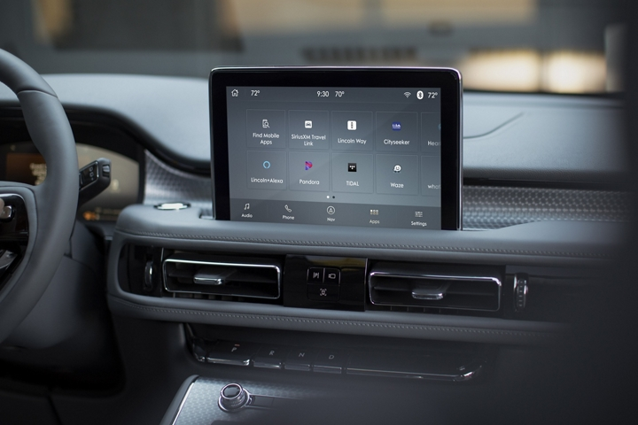 The Lincoln Plus Alexa screen is shown in the center touch screen of a Lincoln Aviator