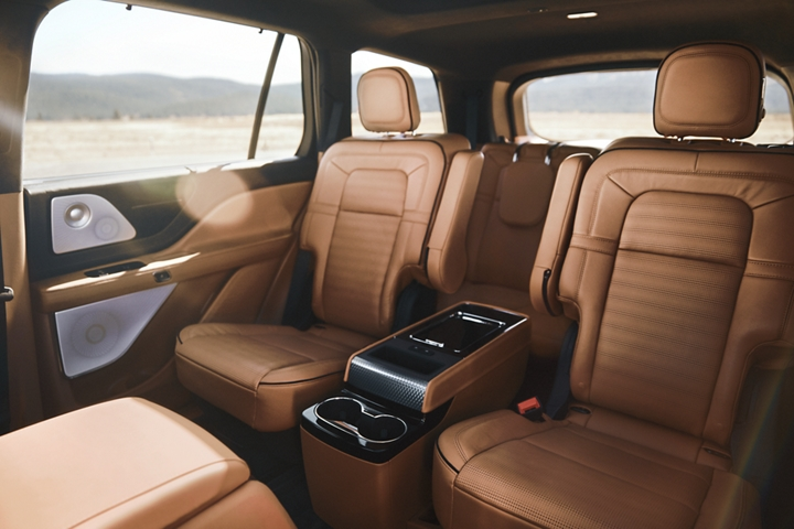 The second and third rows of a Lincoln Aviator are shown to demonstrate the range of second row configurations