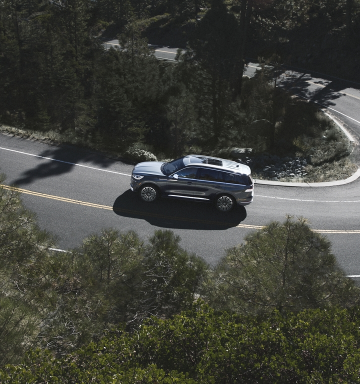 A 2021 Lincoln Aviator is shown after having been driven through a sharp turn