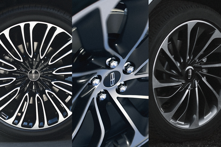Three 2021 Lincoln Aviator wheel options are shown in this image