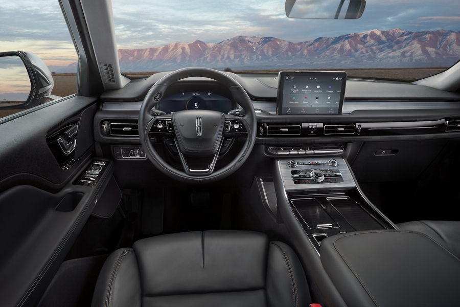 The interior of a 2021 Lincoln Aviator is shown from the view of the drivers seat