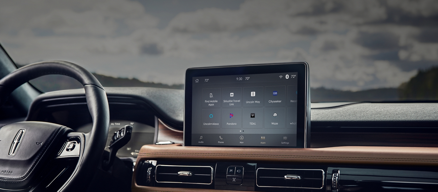 The center touch screen of a 2021 Lincoln Aviator is shown