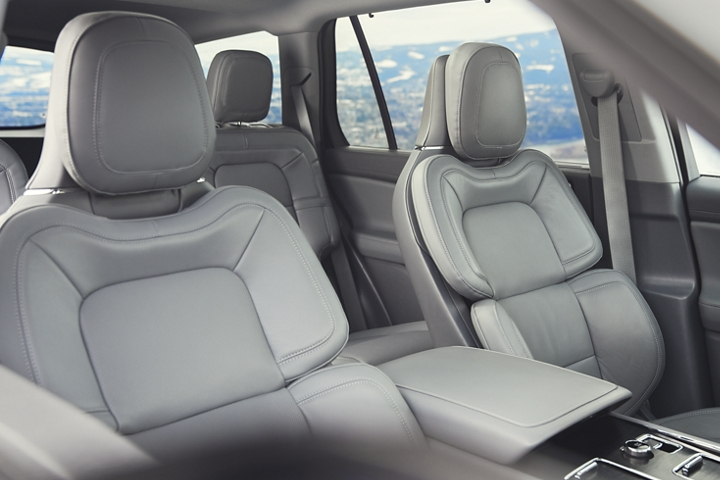The interior of a 2021 Lincoln Aviator is shown in the slate gray interior color
