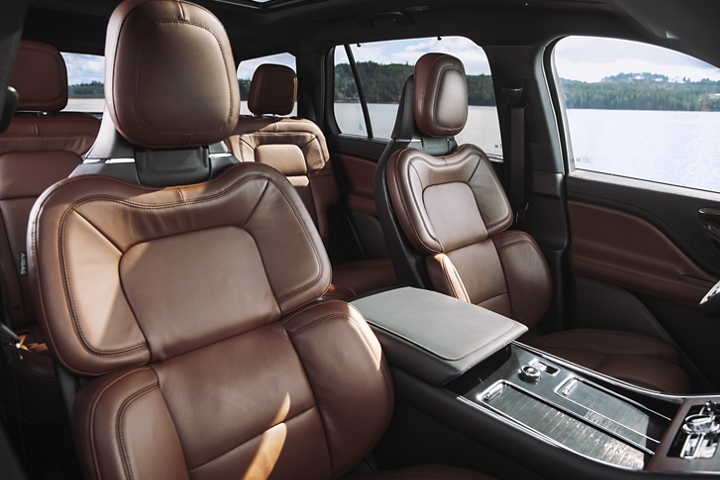 The front rows perfect position seats are shown in the 2021 Lincoln Black Label Flight interior theme