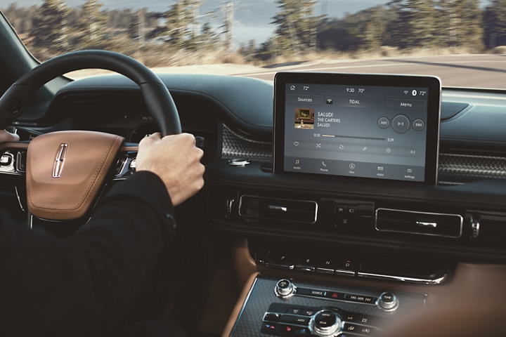 The TIDAL screen is shown in the center console of a 2021 Lincoln Aviator