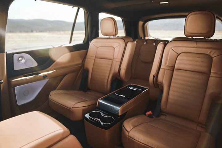 The second and third rows of a 2021 Lincoln Aviator are shown to demonstrate the range of second row configurations