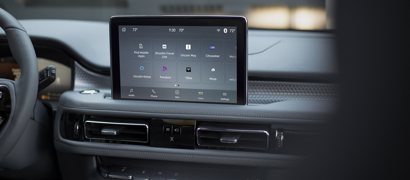 The Lincoln plus Alexa app screen is displayed in the center screen of a 2021 Lincoln Aviator