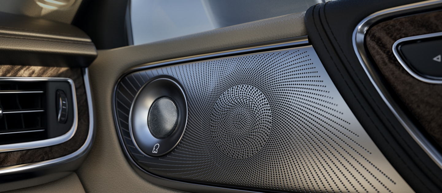 An available audio system speaker is seen in front passenger door of the 2020 Lincoln Continental