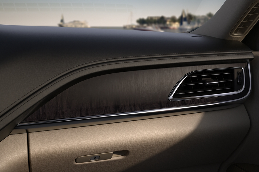 Espresso Ash Swirl wood appliques adorn the dash and other surfaces throughout the cabin