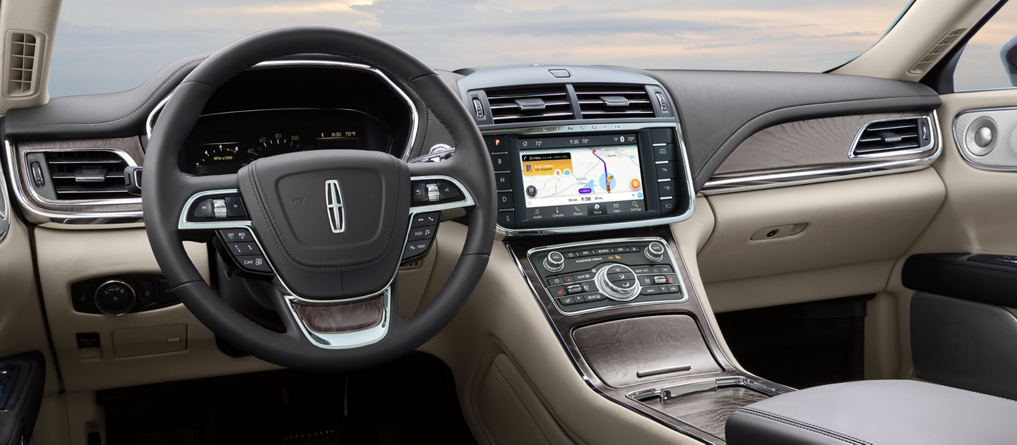 The Waze Interface is shown in the center touch screen of a 2020 Lincoln Continental to help you navigate your way around traffic jams