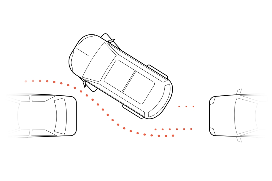 A graphic rendering shows a birds eye view of a vehicle maneuvering into a parallel parking spot between with dotted lines illustrating movement