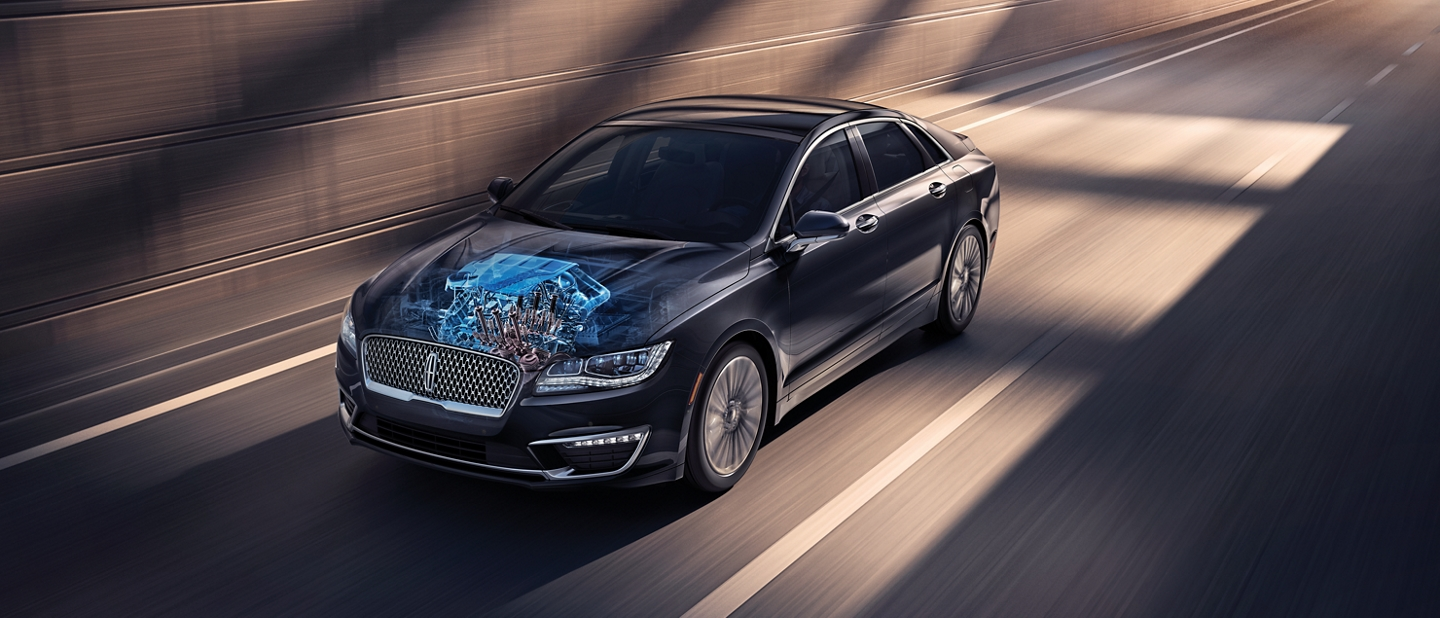 The 2020 Lincoln M K Z is shown being driven swiftly through a city underpass