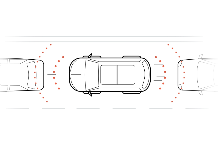 An illustration shows simulated detection waves emitting from the front and rear of a vehicle to demonstrate how the sensing systems function
